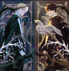 """rewatched Harry Potter moives,fall in love with""""Drarry""""again. Harry Potter Fan Art, Images Harry Potter, Harry Potter Drawings, Harry Potter Ships, Harry Potter Universal, Harry Potter Characters, Harry Potter Memes, Potter Facts, Drarry Fanart"""