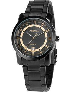 Agent X Herren Luxus Armbanduhr Analog Japanisches Quarz Datum Anzeige Stahl Band AGX129 - http://kameras-kaufen.de/agent-x/agent-x-herren-luxus-armbanduhr-analog-quarz-band