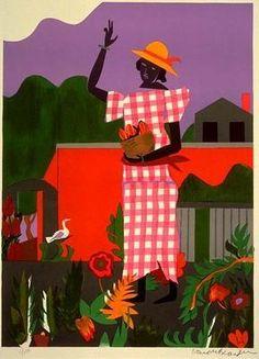 Romare Bearden  Title: Girl In The Garden  Year: 1979