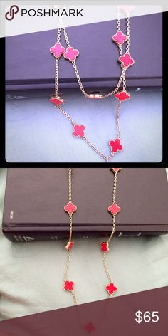 Long Gold necklace with red clover design. This is absolutely stunning. The brand is Lucky Star and she is an awesome designer. You can either wear it doubled so it lays nicely on your décolleté/chest , or wear long. Both ways have afforded me many compliments 💕💕💕💕💕😍 Will not tarnish Lucky Star Jewelry Necklaces