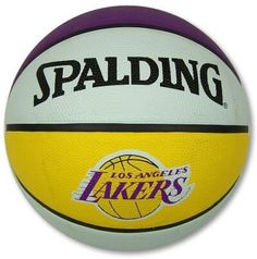 LOS ANGELES LAKERS OFFICIAL LOGO SPALDING BASKETBALL by NBA. $18.94. Officially licensed by the NBA. Top Quality, Manufactured by Spalding. Officially licensed by the Los Angeles Lakers. Terrific full size team logo NBA basketball from Spalding. Loaded with official logos. Official colors on every panel. Durable rubber construction. This one is great for indoor or outdoor play. Official size and weight. Full size, 29.5 basketball. Pebbled construction for easy handling. Includes ...
