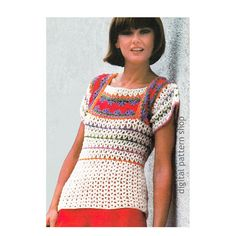 Crochet Top Pattern Vintage Banded Blouse Crochet Pattern Square Neck Top Womens…