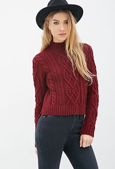 Cable Knit Mock-Neck Sweater | Forever 21 - 2000101342