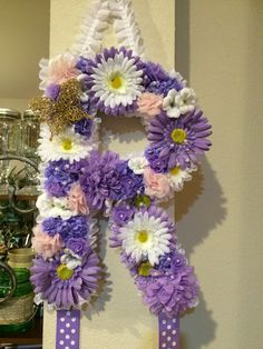 Purple, pink, and gold flower letter and bow hanger, nursery decor.
