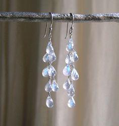 Dripping With Moonstones Earrings - Moonstone Drop Earrings - Waterfall Earrings… More
