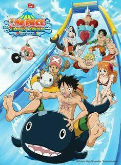 Straw Hat Crew, Mugiwara, Luffy, Sanji, Zoro, Chopper, Usopp, Brook, Franky, Nami, Robin, water slide, swimsuits, funny, Laboon, inflatable, lifesaver; One Piece