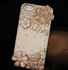 IPhone 5 5S 6 6S Plus SE Bling Cute Floral Pearls Diamonds LOVE Crown Hard Case For Various Mobile Phone