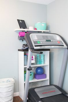 Great idea for organizing workout equip - add DVDs ... now, what about the stability ball??