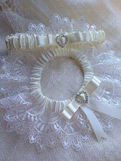 "The "" Sylvie "" Ivory Garter Set. Ships worldwide. Wedding Garters of distinction. https://www.etsy.com/listing/200671253/the-sylvie-ivory-garter-set?ref=shop_home_active_21  #Garnize"