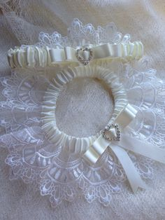"The "" Sylvie "" Ivory Garter Set. Ships worldwide. Wedding Garters of distinction. https://www.etsy.com/listing/200671253/the-sylvie-ivory-garter-set?ref=shop_home_active_21 #Garnize"