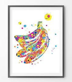 Bananas watercolor Print Fruits art painting bananas by MimiPrints