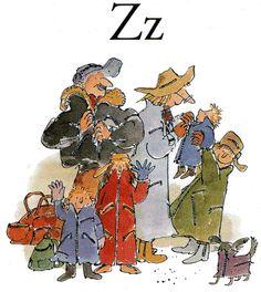Z is for zippers Chris Riddell, Quentin Blake Illustrations, Vintage Book Art, Vintage Illustration Art, Reading Art, Roald Dahl, Alphabet, Artist Art, Matilda