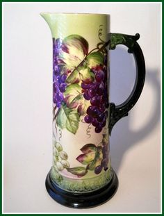 Antique Hand Painted Belleek Porcelain Tankard With Purple And Green Grape Motif, Made By CAC (Ceramic Art Co.)   c. Late 19th Century