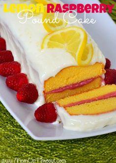 Lemon Raspberry Pound Cake   MomOnTimeout.com - Lemon Cream Cheese Frosting and a Raspberry Filling make this dessert extra special! #lemon #raspberry #recipe #dessert