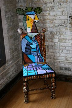 Picasso Femme Assise Dans un Fauteuil upscaled painted chair by Artist Todd Fendos Art Furniture, Funky Painted Furniture, Painted Chairs, Upcycled Furniture, Unique Furniture, Painting Furniture, Cool Chairs, Hanging Art, Decoration