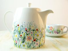 Hand painted teapot - wildflowers in spring meadow - fine bone china. £28.00, via Etsy.