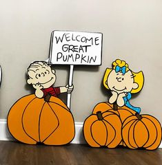 Welcome Great Pumpkin Yard Sign / Linus and Sally Brown / Peanuts Yard Sign / Charlie Brown Sign / Linus / Peanuts Halloween Yard Art Sally Brown, Sally Charlie Brown, Great Pumpkin Charlie Brown, It's The Great Pumpkin, Charlie Brown Peanuts, Peanuts Snoopy, Peanuts Cartoon, Snoopy Halloween, Halloween Yard Art