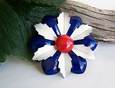 Vintage Enamel Flower Brooch Layered Petals Red White and Blue Bright Color 1960s Jewelry Collectible Estate Jewelry by papercherries on Etsy https://www.etsy.com/listing/252437070/vintage-enamel-flower-brooch-layered