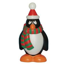 General Foam Plastics Holiday Penguin with Scarf Figurine Color: Red / Green