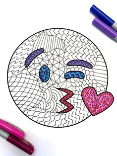 Kiss Emoji  PDF Zentangle Coloring Page