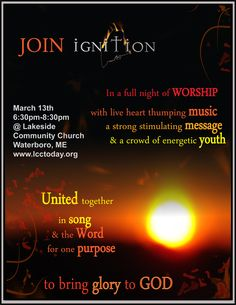 Promotional Poster for evening worship event.