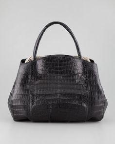 An inexpensive splurge at $3850, compared to other designer bags. Crocodile Python-Frame Tote Bag, Black/Multi  by Nancy Gonzalez