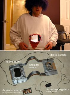 """Halloween Gapping Hole Costume    Look what Evan Booth made for his Hallloween costume 2006: """"By using a travel DVD player strapped to my stomach, with video coming from a digital camera strapped to my back, it creates the illusion that I have a very large hole in my body. Cool, isn't it?""""    Yeah, brother! That's awesome!"""
