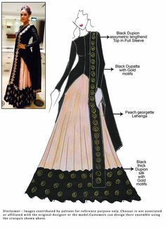 Such a stunning piece by Payal Singhal ❤️ Dress Design Sketches, Fashion Design Sketchbook, Fashion Design Drawings, Fashion Sketches, Long Choli Lehenga, Anarkali, Bridal Lehenga, Choli Designs, Dress Designs