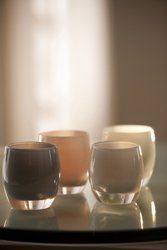 I love these glassybaby votives.  They are luminescent when you put a candle in them.