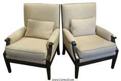 Pair of Regency Style Upholstered Parlor Arm Chairs | eBay