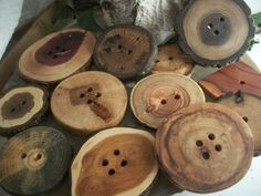 XXL Wood Tree Branch Button Assortment - 12 assorted woods .. for Hats, Scarves, Cowls, Pillows and Journal Covers