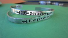 "I Love You More""    I Love You Mostest"" "" bracelets Sold as a pair. $22.50, via Etsy."