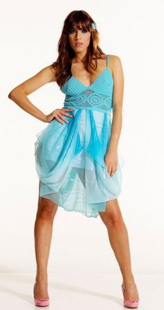 Turquoise Cocktail  Dress /  Bridesmaid Dress  : Crochet and chiffon silk - (made to order) on Etsy, $207.00