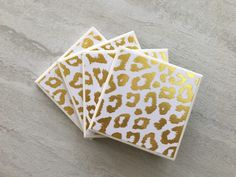 Animal Print Coasters, Gold Coasters, Ceramic Coasters, Tile Coasters, Coaster Set, Coasters, Handmade Coasters by JulesfortheHome on Etsy