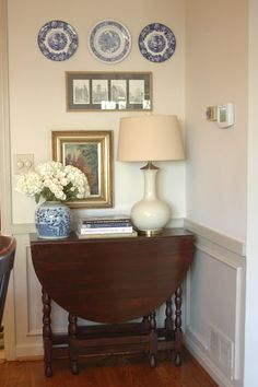 """Wall Color: Bone White BM/ Trim Color: Bennington Gray BM via nine and sixteen. Carolyn Williams """"this style drop leaf gate leg vintage English table is very popular due to versatility. Use as console or open one side for serving or work space or pull out and use open for dining. Especially practical for small spaces."""""""