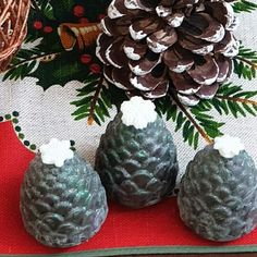 Pine Cone Soap 🌲 Keep a memory of your walk in the winter woods with a green shimmer and snowy glitter. Scented in the smell of winter… Handmade Soaps, Pine Cones, Woods, Design Inspiration, Glitter, Memories, Green, Color, Instagram