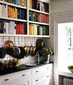 Try hanging pots under shelves // Storage Solutions