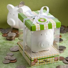 One little piggy went to the market, while this little piggy went to a baby shower and became the blue ribbon favor.