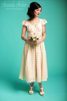 Tea Length Wedding Dress Ivory Daisy Dotted Tulle by AmandaArcher, $489.00