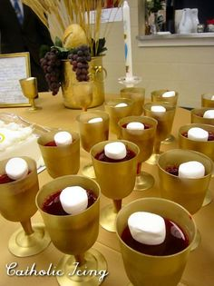 first communion party food ideas - This is Red Jello with marshmallows