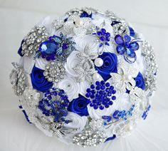 Brooch bouquet. Deposit on a Royal blue, White and Silver wedding brooch bouquet, Jeweled Bouquet. Made upon request via Etsy