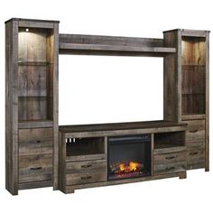 AFW has an amazing selection from Ashley Furniture including the Trinell Wall Unit With Fireplace Console in stock or quick ship! Shop this and other items by Ashley Furniture and save! Wall Units With Fireplace, Fireplace Console, Fireplace Inserts, Fireplace Wall, Large Entertainment Center, Entertainment Wall Units, Entertainment Center With Fireplace, Repurposed Furniture, Home Furniture