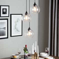 Uptown 3-light Clear Globe Cluster Pendant - something like this might look good as pendants over the island