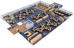 3D Office Layout Space Planning For Large Space With Cubicle