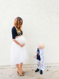 crop top and tulle skirt maternity style // 30 week bump {Bel & Beau instagram}