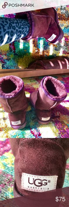 Purple Classic Short Uggs These are in great condition, only wore them three times. They are super comfortable, it has some wrinkles from normal wear.  I am selling these because I no longer live in NY where it gets cold, purchased these from Nordstrom. Women size 6, kids size 4. UGG Shoes Winter & Rain Boots