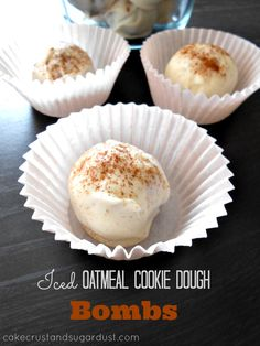 Iced Oatmeal Cookie Dough Bombs...egg-free cookie dough inside! from Cake, Crust, and Sugar Dust