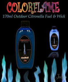 Colorflame Outdoor Tiki Torch Fuel & Wick Refill 170ml Bottle  BLUE Fire Flames #Tiki