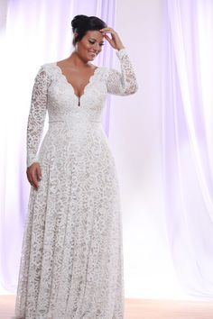Long Sleeve Plus Size Wedding Dresses Detachable Long Sleeve Wedding Dress for Plus Size Bride You can have this made for you in any size and with any changes - We are in the USA but we can work with you no matter where you live. Contact us for pricing! Plus Size Wedding Dresses With Sleeves, Wedding Dress Sleeves, Long Sleeve Wedding, Plus Size Dresses, Lace Wedding, Trendy Wedding, Dream Wedding, Wedding Reception, Rustic Wedding