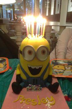 minion cake - candles on top Minion Birthday, Minion Party, Birthday Cakes, Happy Birthday, 3rd Birthday, Birthday Ideas, Bolo Minion, Minion Cakes, Pastel Minion